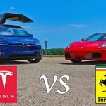 Tesla Model X P90D vs Ferrari F430 Spider, Mana Lebih Cepat?