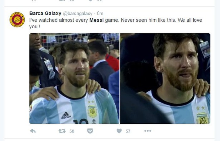 Messi memang tampak sangat sedih sampai menangis setelah Argentina ditaklukkan Chile. Foto: Twitter