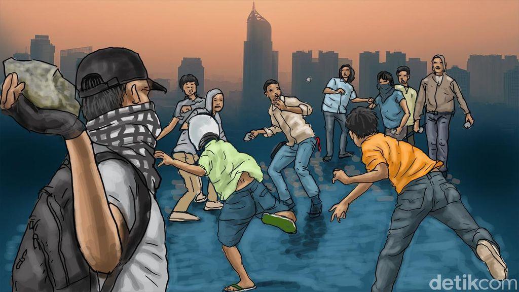 Polisi Bubarkan Tawuran Remaja di Jalan Pemuda Rawamangun