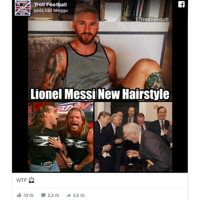 Beberapa orang digambarkan tertawa terbahak-bahak. Memang Messi sebelumnya dikenal berpenampilan biasa-biasa saja sebelum berubah pirang seperti ini. Foto: Istimewa