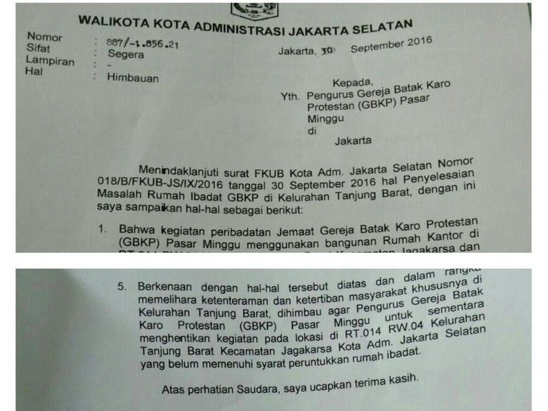 Ini Surat Wali Kota Jaksel Larang Peribadatan GBKP Pasar Minggu
