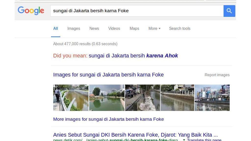 Ketika Ahok Menyuruh Lihat Hasil Google Sungai Bersih Karena Foke