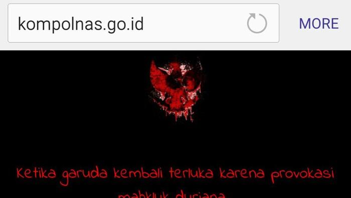 Foto: Situs resmi Kompolnas dihack (Istimewa)
