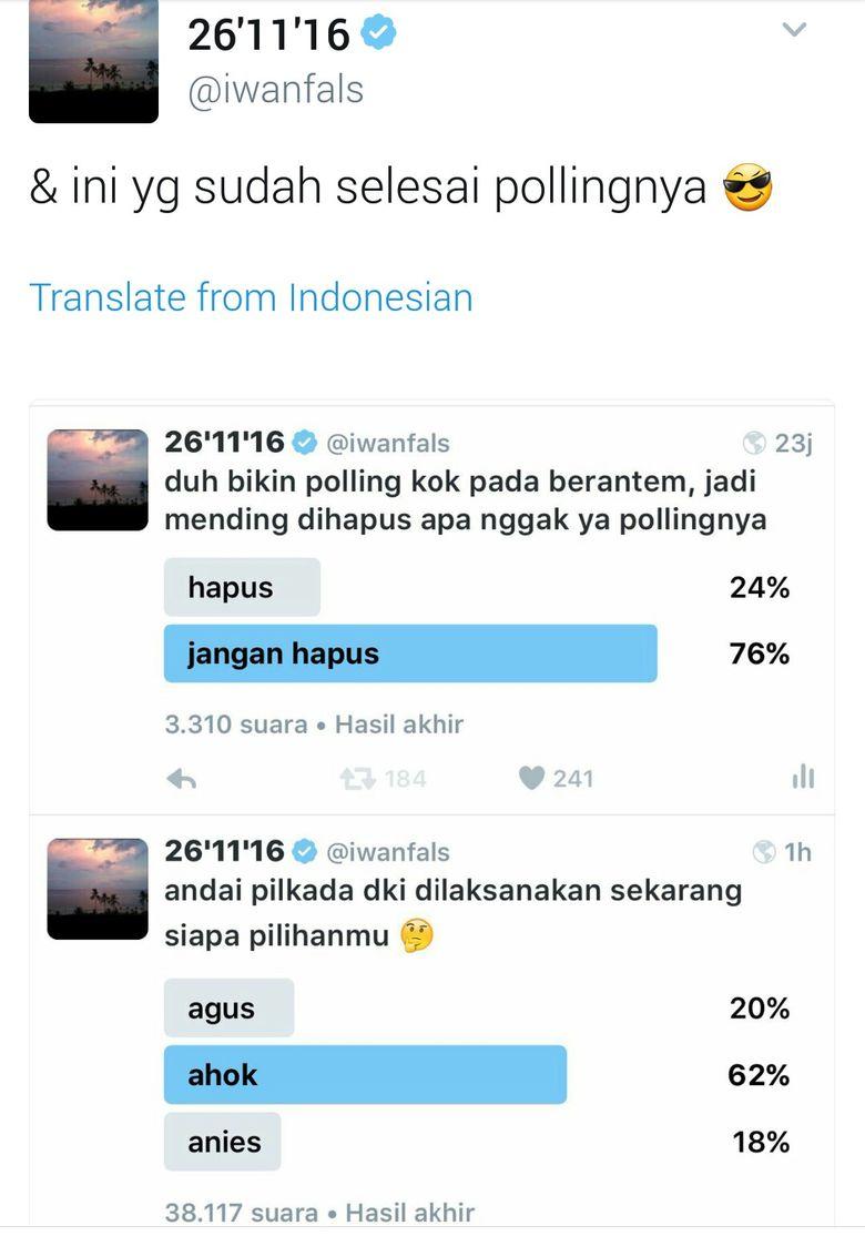 Ramai Di Medsos Iwan Fals Bikin Polling Pilkada DKI Siapa Menang