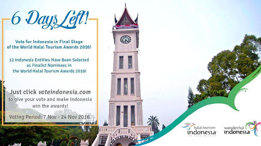 6 Hari Lagi! Ayo Vote Perwakilan Indonesia di Ajang Kompetisi Wisata Halal