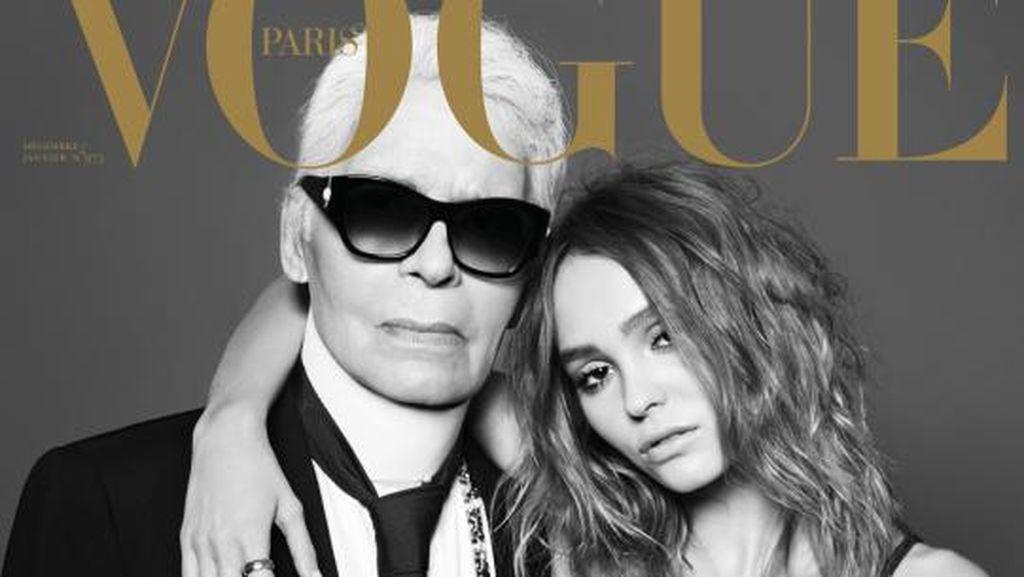 Putri Johnny Depp Pose Bareng Karl Lagerfeld di Vogue Paris