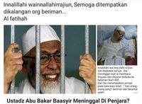 Kapolres Bogor: Isu Abu Bakar Baasyir Meninggal di Penjara Tidak Benar!