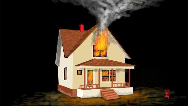 Sebuah Rumah di Cakung Terbakar