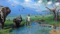 Foto: Pengunjung bisa bebas berekspresi dengan karya-karya lukis 3 dimensi. Seperti kelompok traveler ini yang berfoto di Animal Zone dengan latar belakang sekawanan gajah (Avitia/detikTravel)