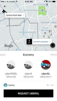 Uber Hadirkan Layanan Tumpangan 6 Orang