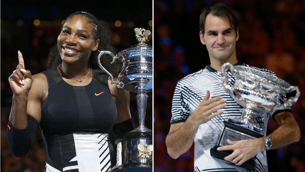 Pose Serena dan Federer dengan Pialanya