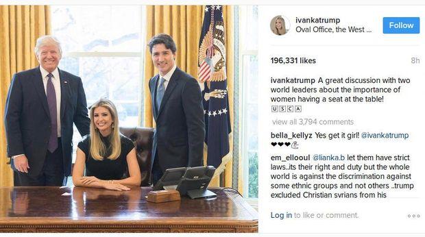 Ivanka Jadi Sorotan di Pertemuan Trump dengan PM Kanada
