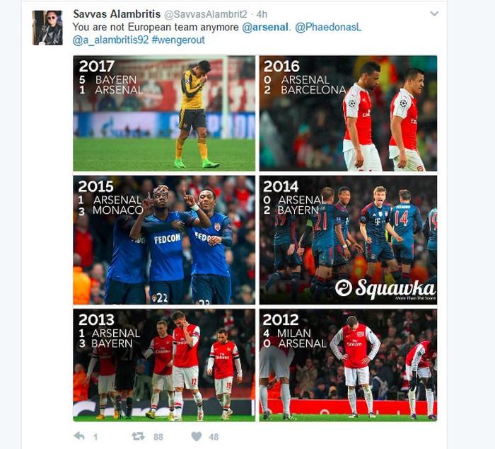 Arsenal selalu konsisten terhenti di babak 16 besar Liga Champion. Foto: Istimewa