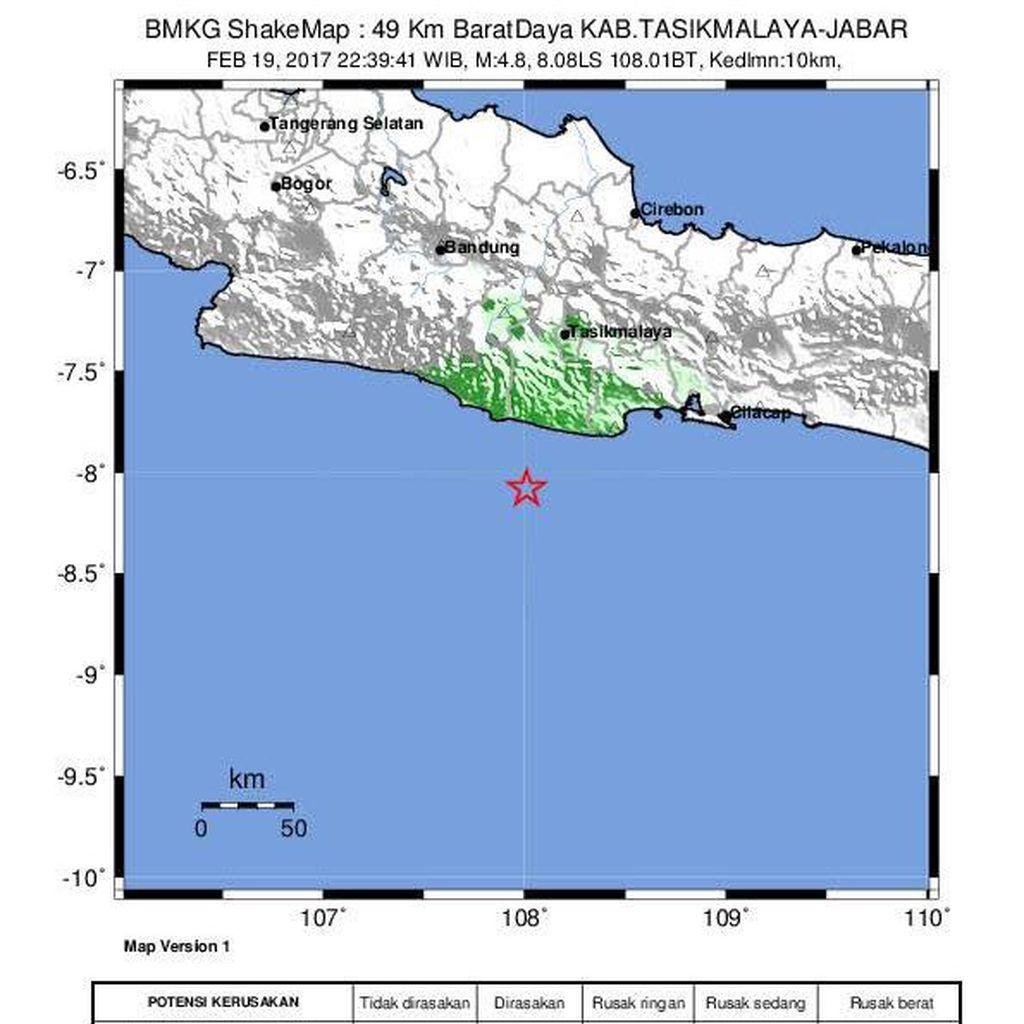 Gempa 4,8 SR Guncang Tasikmalaya, Getaran Hingga Garut dan Banjar