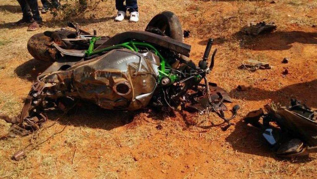 Kecelakaan di Kecepatan Tinggi, Kawasaki Ninja H2 Ini Hancur
