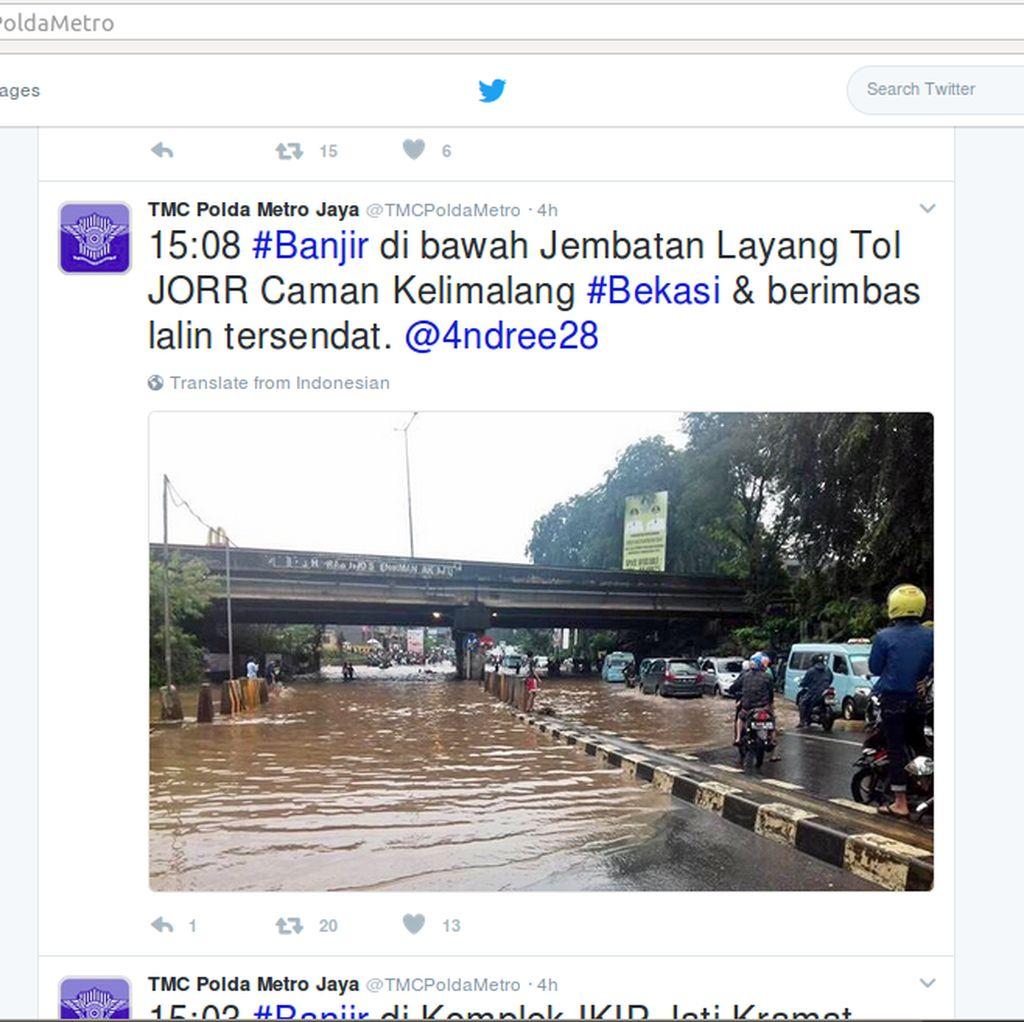 Kolong Tol JORR di Kalimalang Sempat Banjir, Lalin Jadi Tersendat