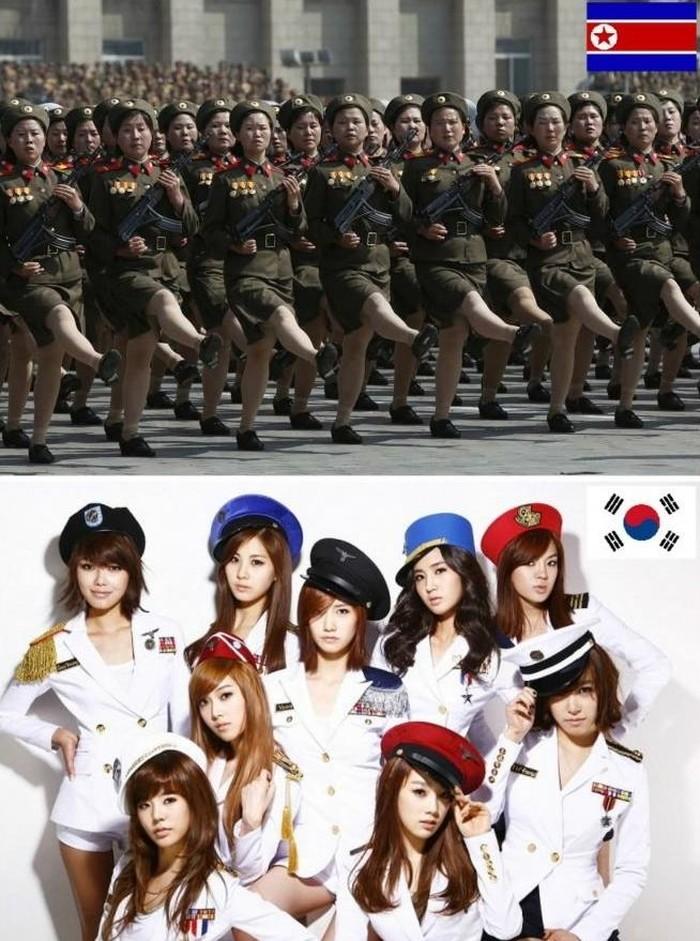 Di atas adalah wanita tentara Korut yang berbaris rapi, di bawah adalah girlband yang jadi andalan Korsel. Foto: istimewa