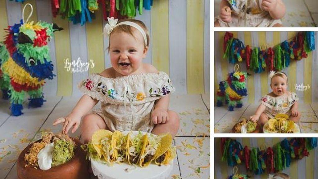 Gemas! Saat Anak Rayakan Ultah Pertama dengan Makan Makanan Favorit