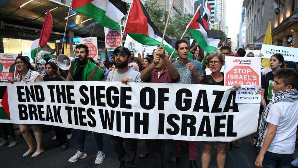 Ratusan Demonstran Pro-Palestina di Australia Memprotes Netanyahu
