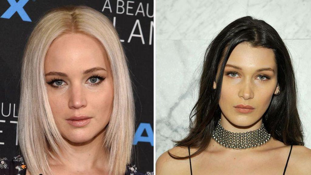 Kemiripan Wajah Jennifer Lawrence dan Bella Hadid, Siapa Lebih Cantik?