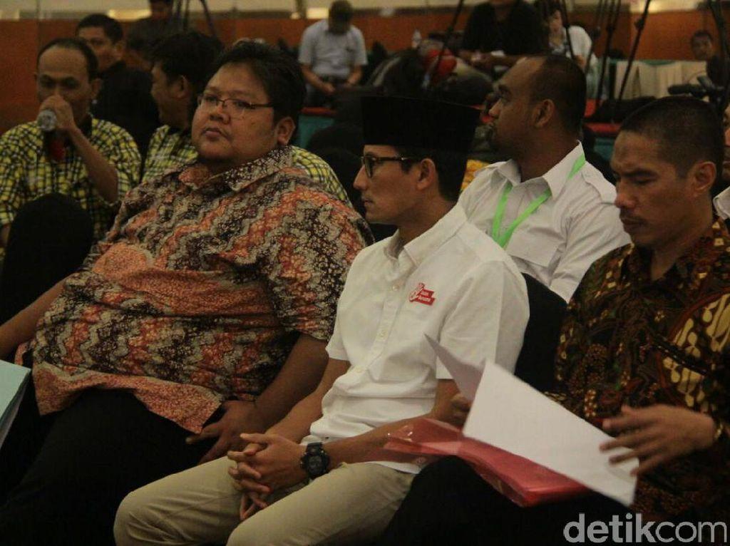 Hadiri Rapat Pleno Pilgub DKI, Sandiaga Apresiasi Kerja KPUD