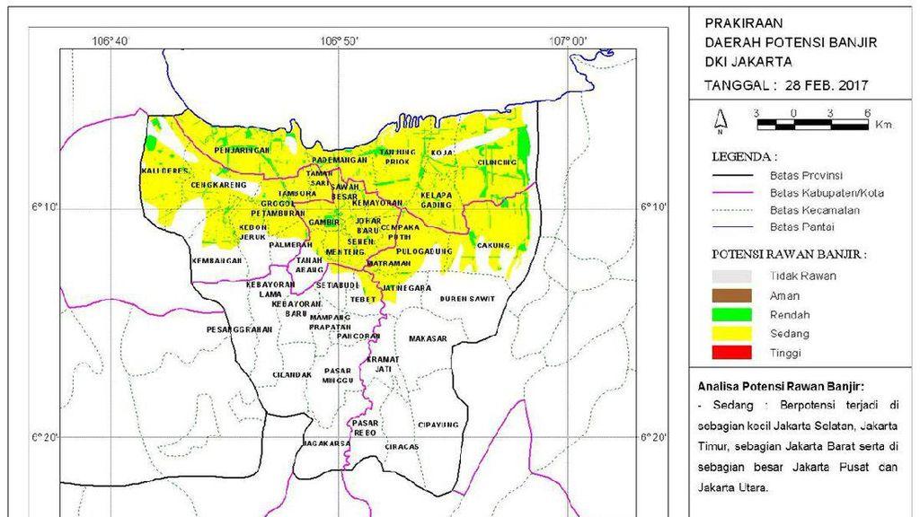 BMKG Petakan Wilayah Jakarta yang Berpotensi Banjir Hari Ini