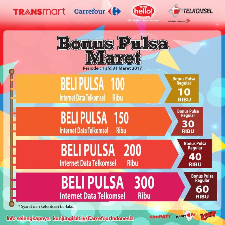 Beli Pulsa Gratis Pulsa Telkomsel di TransHello Transmart