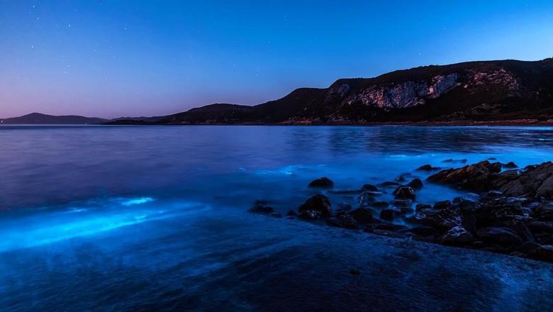 Saat lautan Tasmania berubah warna biru bercahaya (Leanne Marshall/Instagram)