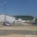 Rini ke Pabrik Semen Rembang Pakai Helikopter