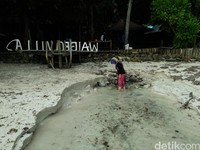 Foto: Pantai Waiwo juga punya aliran air payau yang keluar langsung dari daratan. Sehingga bibir pantai menjadi titik pertemuan air laut dan air tanah (Bonauli/detikTravel)