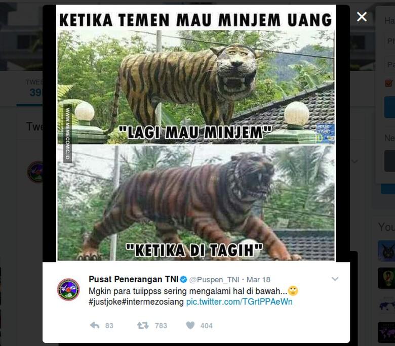 TNI Juga Bikin Meme Macan Lucu Cisewu