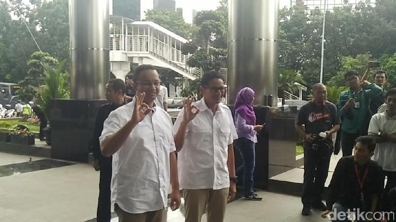 Anies Temani Sandiaga ke Gedung KPK untuk Laporkan LHKPN