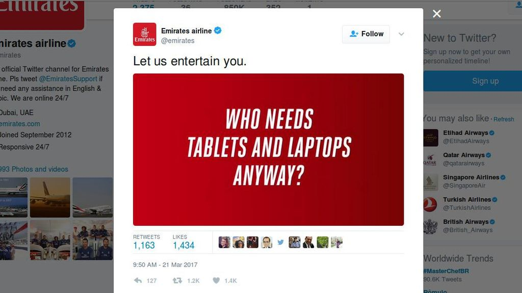 Soal Larangan Laptop di Kabin, Emirates: Siapa yang Butuh Laptop?