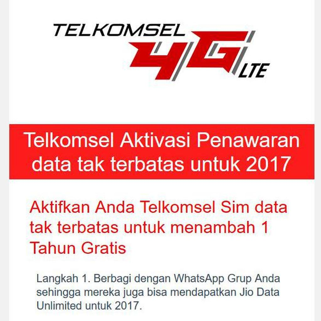 Waspada! 4G Telkomsel Dicatut Scam WhatsApp