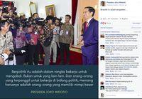 Postingan Jokowi di Facebook.