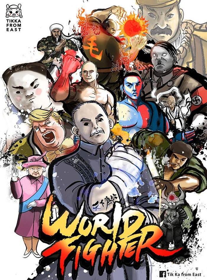 Bertajuk World Fighter, Tik Ka sukses menyuguhkan portrait para pemimpin dunia menjadi mirip karakter game Street Fighter. Foto: Facebook/Tik Ka
