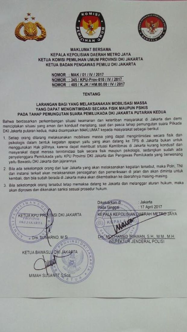 Polda Keluarkan Maklumat Larang Mobilisasi Massa ke TPS 19 April