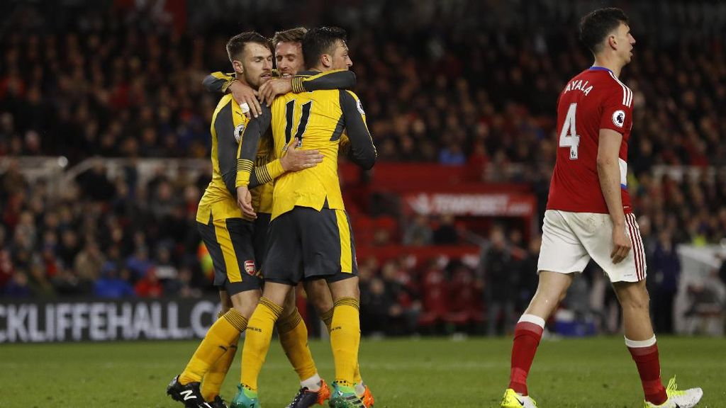 Atasi Middlesbrough 2-1, Arsenal Jaga Asa ke Empat Besar