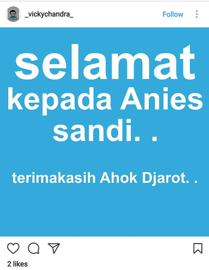 Sudah ada netizen yang mengucap selamat untuk Anies dan Sandi. Foto: istimewa