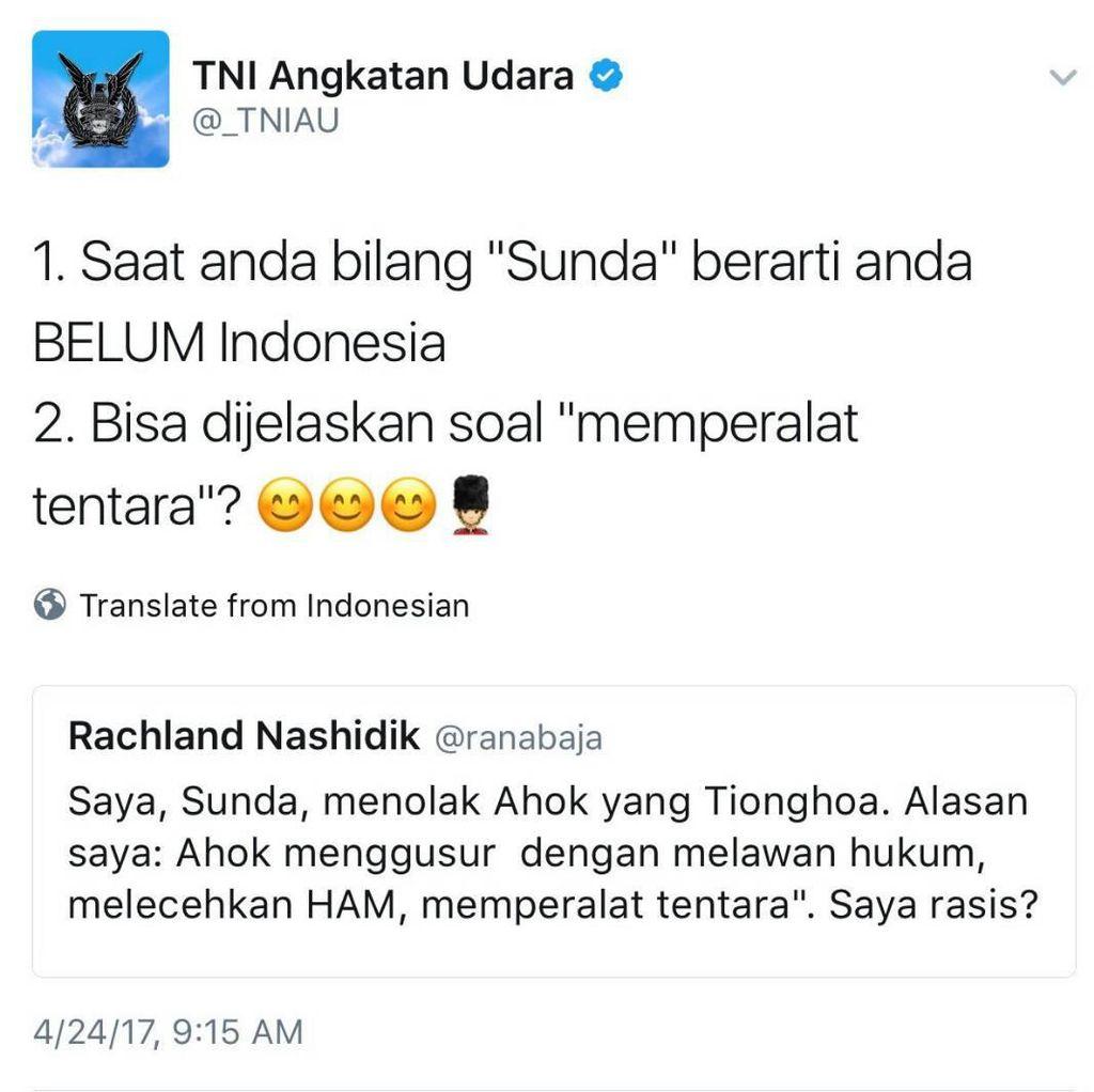 Ramai Soal #AingSunda, Admin Twitter TNI AU Beri Klarifikasi