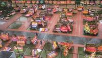 Karangan Bunga untuk Ahok di Balai Kota Ambruk Saat Hujan Deras
