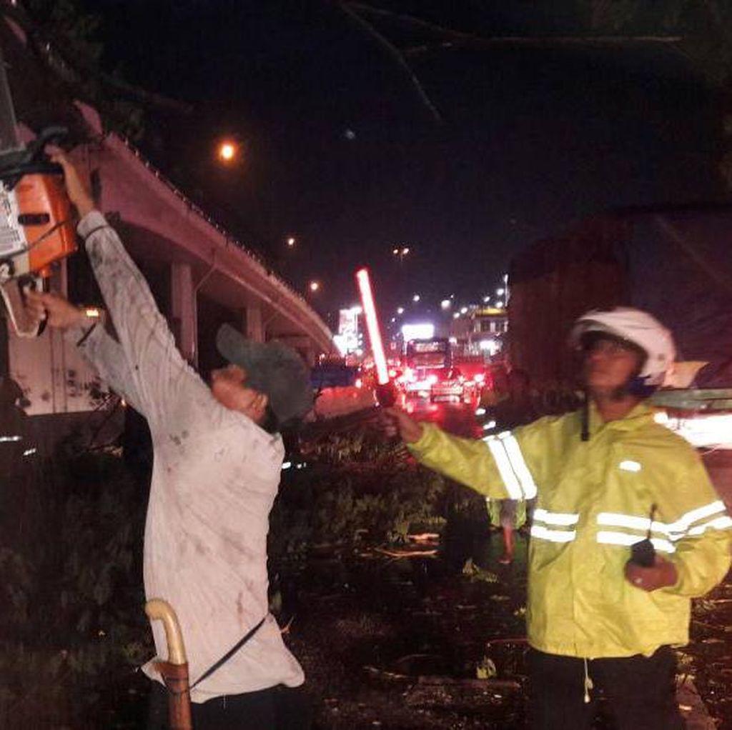 Truk Kontainer Tertimpa Pohon di Tomang, Lalin Macet
