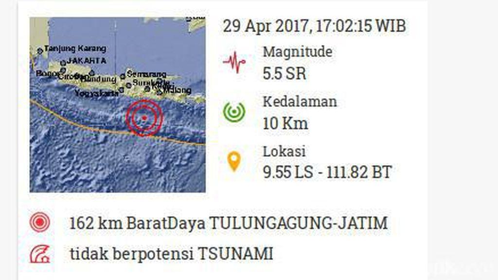 Gempa 5,5 SR Juga Dirasakan Warga Blitar