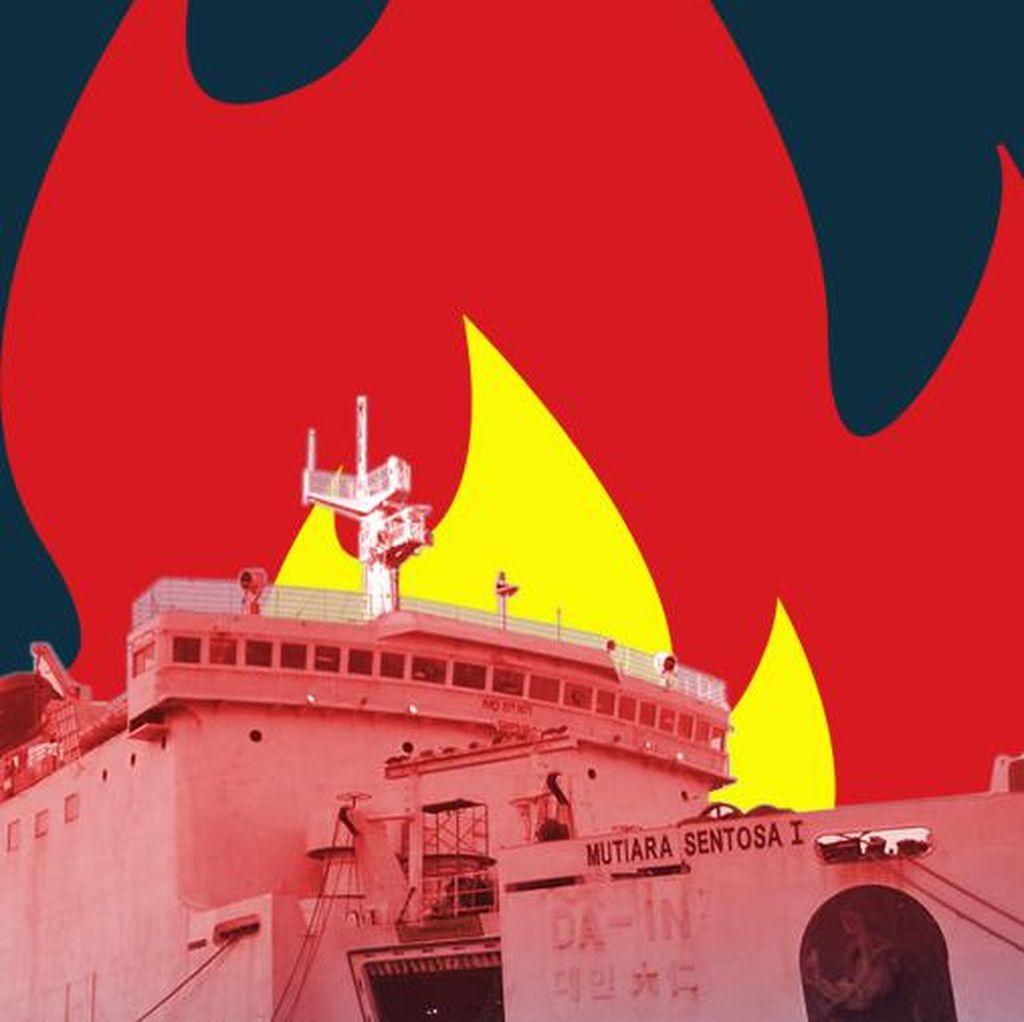KM Mutiara Sentosa I: Sempat Mogok, Kini Terbakar