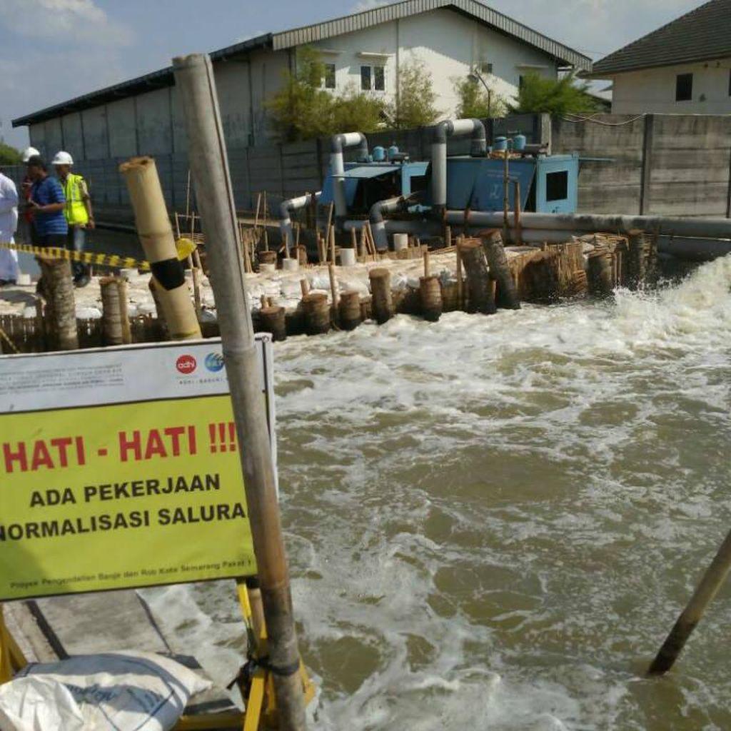 Pembendungan Kali Sringin Semarang Kurangi Rob di Pantura