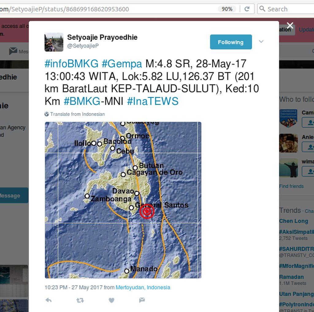 Gempa 4,8 SR Terjadi di Kepulauan Talaud Sulut