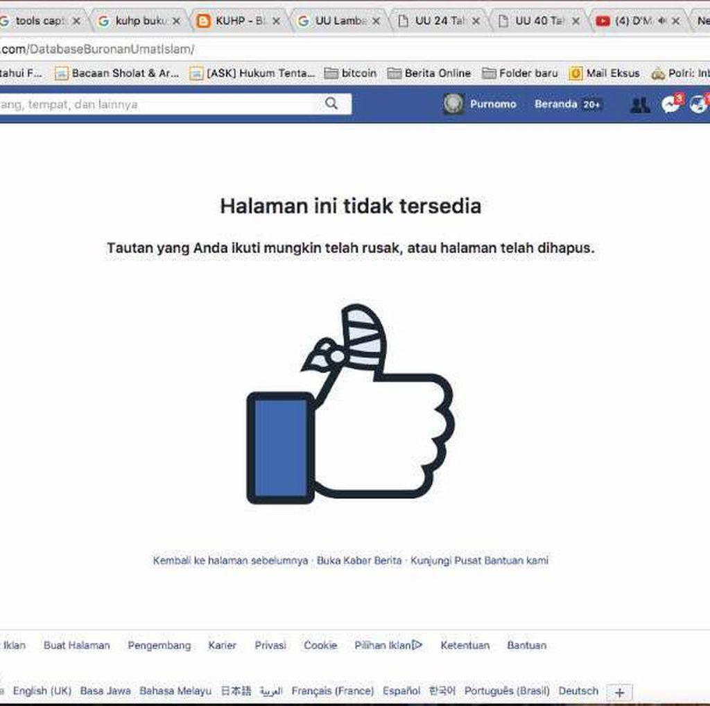 Polisi: Akun Facebook Buronan Umat Islam Tutup Berkat Warganet