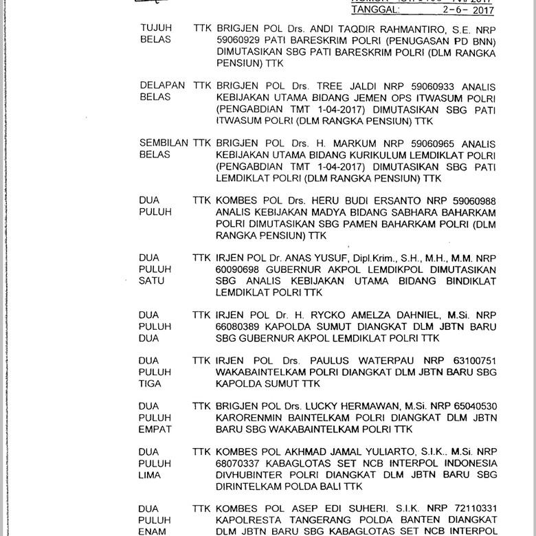 Pascakematian Taruna, Gubernur Akpol Irjen Anas Yusuf Dimutasi