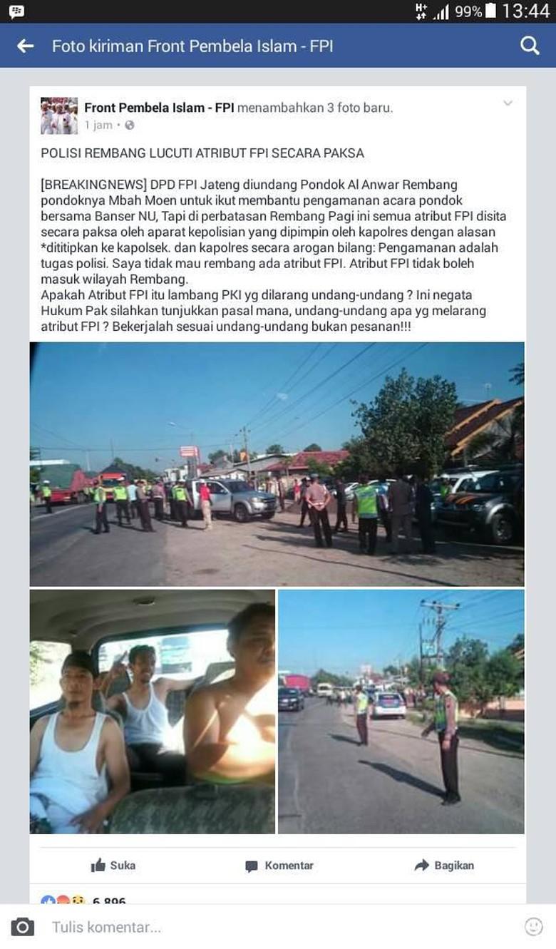 Begini Suasana Saat Kapolres Rembang - Facebook Rembang Permintaan pencopotan atribut Front Pembela Islam oleh personel Kepolisian Resor Jawa sempat viral dan disebut dilakukan