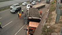 Tabrakan Truk di Tol JORR Km 47 Arah Tanjung Priok, Lalin Padat